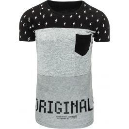 BASIC Pánské černé tričko s potiskem (rx1762) velikost: L, odstíny barev: černá