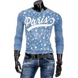 BASIC Pánské modré tričko Paris (lx0319) velikost: XL, odstíny barev: modrá