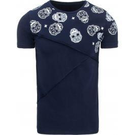BASIC Pánské tmavě modré tričko s potiskem (rx1831) velikost: 2XL, odstíny barev: modrá