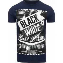 BASIC Pánské tmavě modré tričko s potiskem (rx1868) velikost: XL, odstíny barev: modrá
