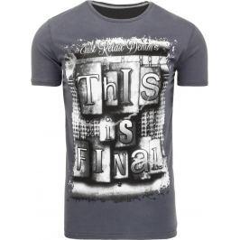 BASIC Pánské grafitové tričko s potiskem (rx1876) velikost: 2XL, odstíny barev: šedá