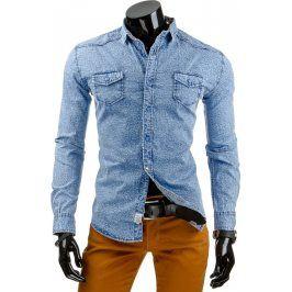 BASIC Pánská džínová modrá košile (dx0870) velikost: M, odstíny barev: modrá