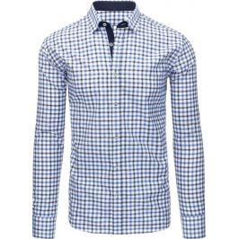 BASIC Modrobílá košile s dlouhým rukávem (dx1302) Velikost: 2XL
