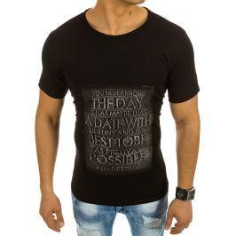 BASIC Pánské černé tričko s nápisem (rx2005) velikost: S, odstíny barev: černá