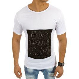 BASIC Pánské bílé tričko s nápisem (rx2020) velikost: S, odstíny barev: bílá