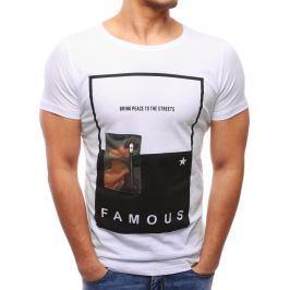 BASIC Pánské bílé tričko s potiskem (rx2047) velikost: 2XL, odstíny barev: bílá