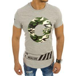 BASIC Šedé tričko s nápisem (rx2144) velikost: 2XL, odstíny barev: šedá
