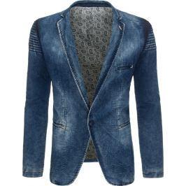 BASIC Pánské džínové sako (mx0282) velikost: S, odstíny barev: modrá