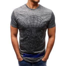 BASIC Antracitové tričko s potiskem (rx2084) velikost: L, odstíny barev: šedá