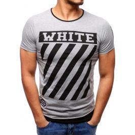 BASIC Šedé tričko s potiskem (rx2166) velikost: L, odstíny barev: šedá