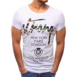 BASIC Bílé tričko s potiskem (rx2192) velikost: L, odstíny barev: bílá