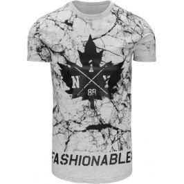 BASIC Pánské šedé tričko s potiskem (rx2228) velikost: M, odstíny barev: šedá