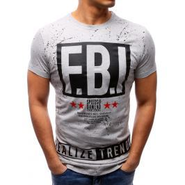 BASIC Pánské šedé tričko F.B.I. (rx2216) velikost: M, odstíny barev: šedá