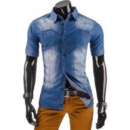 BASIC Pánská džínová košile s krátkým rukávem (kx0609) velikost: L, odstíny barev: modrá