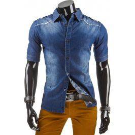 BASIC Pánská džínová košile s krátkým rukávem (kx0613) velikost: M, odstíny barev: modrá