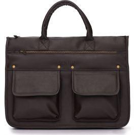 Men's modern briefcase Solier GALSTON (S24 DARK BROWN) velikost: univerzální, odstíny barev: hnědá