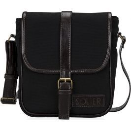 SOLIER Black shoulder messenger bag (SL08 CANVAS ECO BLACK) velikost: univerzální, odstíny barev: černá