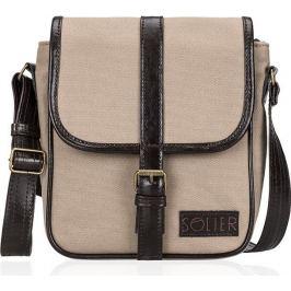 SOLIER Beige shoulder messenger bag (SL08 CANVAS ECO BEIGE) velikost: univerzální, odstíny barev: béžová