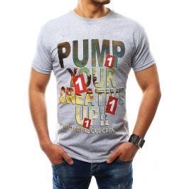 BASIC Pánské šedé tričko s potiskem (rx2278) velikost: 2XL, odstíny barev: šedá