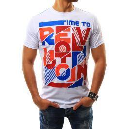 BASIC Pánské bílé tričko s potiskem (rx2294) velikost: 2XL, odstíny barev: bílá