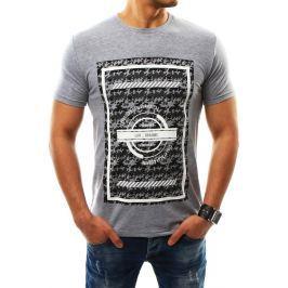 BASIC Pánské šedé tričko s potiskem (rx2312) velikost: 2XL, odstíny barev: šedá