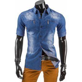 BASIC Pánská džínová košile s krátkým rukávem (kx0615) velikost: L, odstíny barev: modrá
