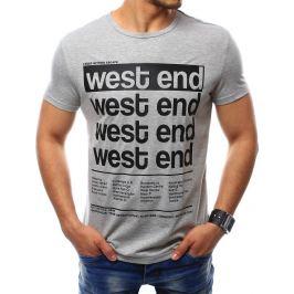 BASIC Pánské šedé tričko s potiskem (rx2407) Velikost: M