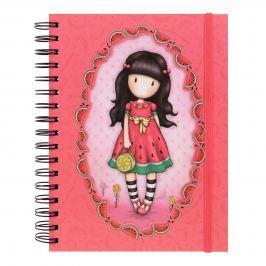 Santoro London - Kroužkový zápisník linkovaný dvojité desky - Gorjuss - Every Summer Has A Story Růžová, červená