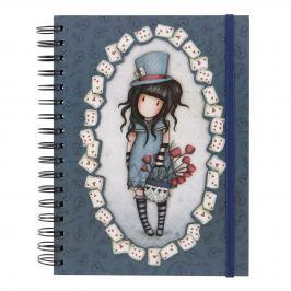 Santoro London - Kroužkový zápisník linkovaný dvojité desky - Gorjuss - The Hatter modrá, šedá, bílá, černá