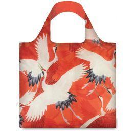 LOQI - Skládací Nákupní Taška - Museum - White and Red Cranes Bag