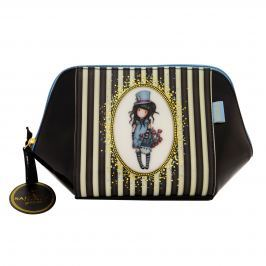 Santoro London - Pouzdro/Kosmetická taška  - Gorjuss Stripes - The Hatter Černá, bílá, modrá