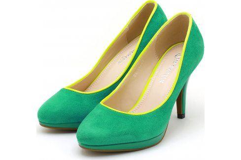 Zelené semišové lodičky 22097 velikost: 40, odstíny barev: zelená Dámská obuv