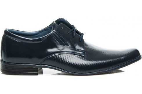 BASIC Kožené modré polobotky 28693 velikost: 43, odstíny barev: modrá Pánská obuv