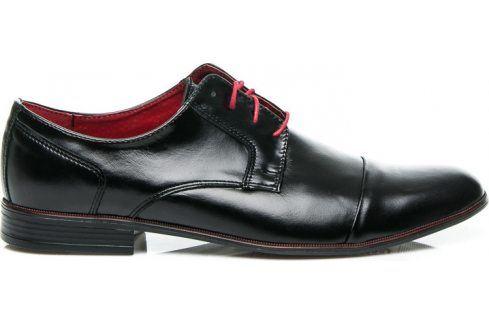 BASIC Kožené černé polobotky 28697 velikost: 44, odstíny barev: černá Pánská obuv