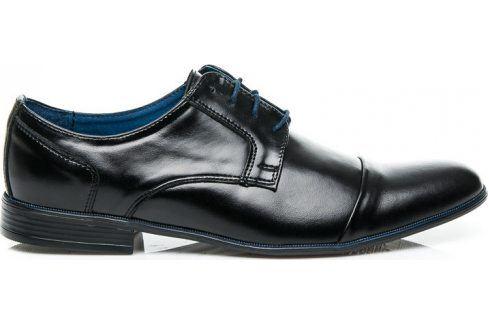 BASIC Kožené černé polobotky 28698 velikost: 41, odstíny barev: černá Pánská obuv