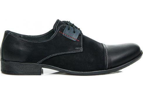 BASIC Kožené černé polobotky 28700 velikost: 44, odstíny barev: černá Pánská obuv