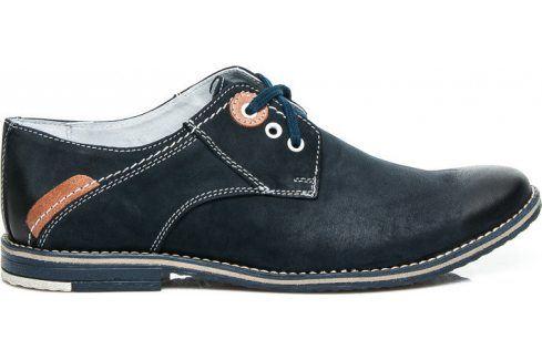 BASIC Kožené granátové polobotky 28711 velikost: 44, odstíny barev: modrá Pánská obuv