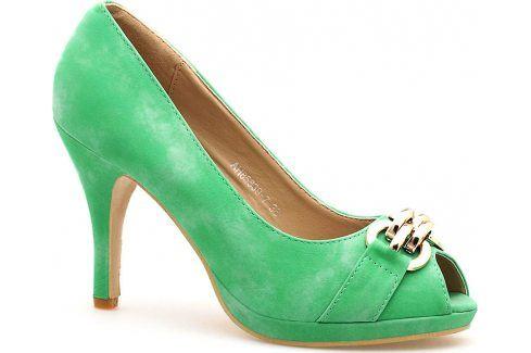 Zelené lodičky s otevřenou špičkou 85839 velikost: 39, odstíny barev: zelená Dámská obuv