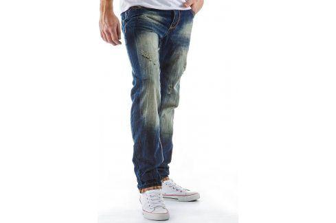 BASIC Pánské modré džíny (ux0122) velikost: 30, odstíny barev: modrá Pánské kalhoty