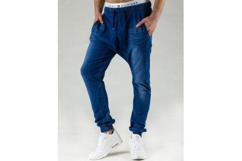 BASIC Pánské modré baggy tepláky (ux0530) velikost: S, odstíny barev: modrá Pánské kalhoty