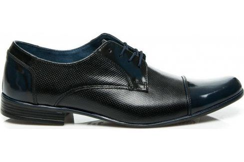 BASIC Kožené černé polobotky 84GRA/B velikost: 41, odstíny barev: černá Pánská obuv
