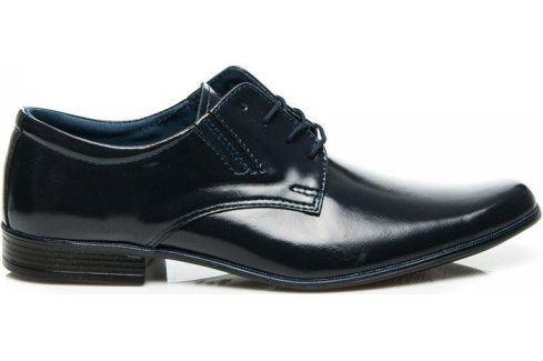 BASIC Kožené tmavě modré polobotky 131GRA velikost: 44, odstíny barev: modrá Pánská obuv