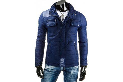 BASIC Pánská modrá bunda (tx1146) velikost: 2XL, odstíny barev: modrá Pánské bundy a kabáty