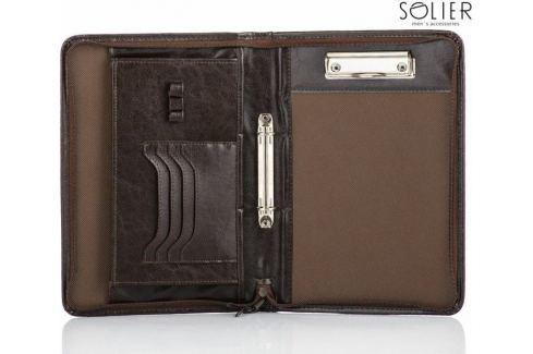 SOLIER Praktické hnědé pouzdro na dokumenty (ST03 BROWN) Velikost: univerzální Pánské tašky