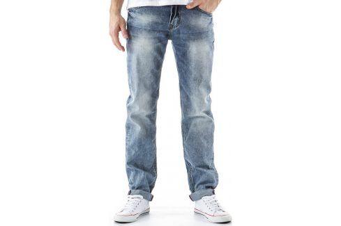 BASIC Pánské modré džíny (ux0166) velikost: 30, odstíny barev: modrá Pánské kalhoty