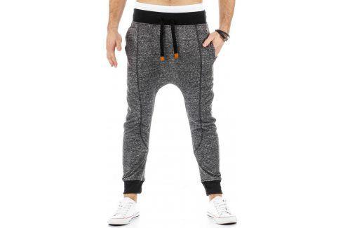BASIC Pánské šedé tepláky baggy (ux0219) velikost: 2XL, odstíny barev: šedá Pánské kalhoty