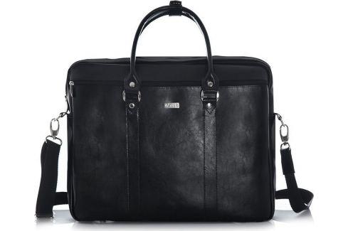 Kožená černá taška Solier (SL03 BLACK) Velikost: univerzální Pánské tašky