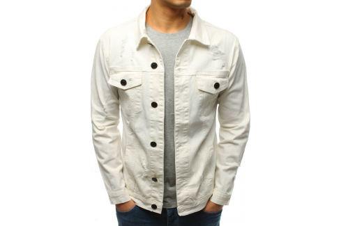 BASIC Bílá pánská džínová bunda (tx2633) Velikost: M Pánské bundy a kabáty