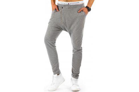 BASIC Pánské šedé tepláky (ux0225) velikost: M, odstíny barev: šedá Pánské kalhoty