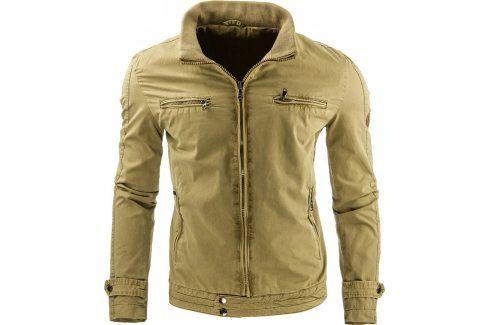 BASIC Jarní/podzimní khaki bunda (tx1178) velikost: 2XL, odstíny barev: zelená Pánské bundy a kabáty